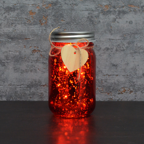 LED Firefly Jar Red