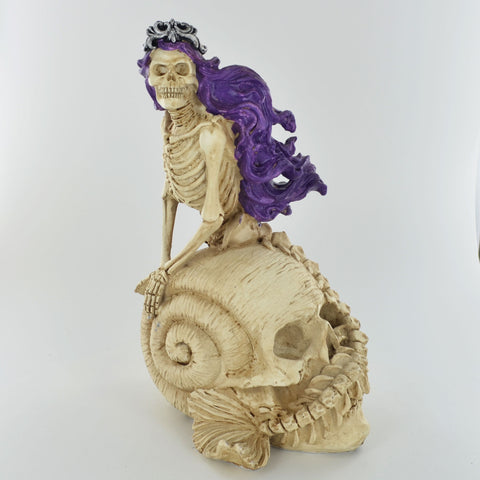 Skeleton Mermaid on Shell Skull