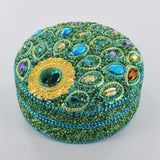 Peacock Round Trinket Box- Green