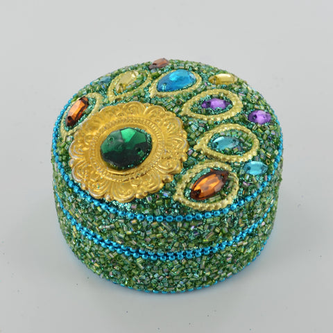 Small Peacock Round Trinket Box- Green