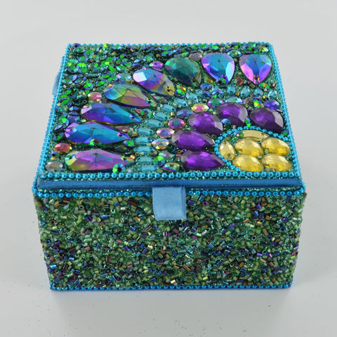 Peacock Square Trinket Box- Blue - Prezents.com