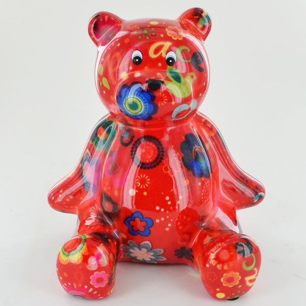 Pomme Pidou Bear Animal Money Bank - Red Peace - Prezents.com