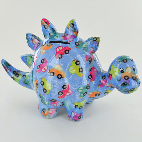 Pomme Pidou Zorc the Dinosaur Animal Money Bank - Blue Cars