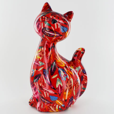 Pomme Pidou Caramel Cat Animal Money Bank - Red Leaves