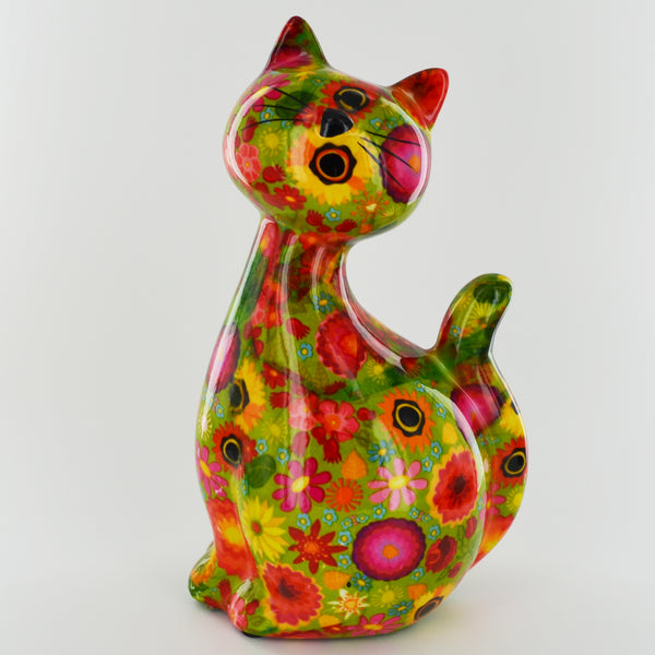 Pomme Pidou Caramel Cat Animal Money Bank - Green Flowers - Prezents.com