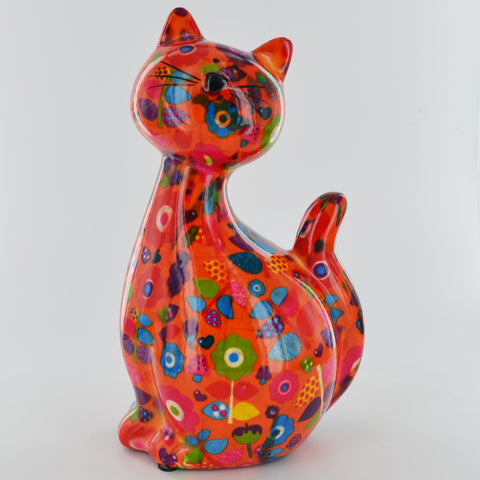 Pomme Pidou Caramel Cat Animal Money Bank - Orange Toadstools - Prezents.com