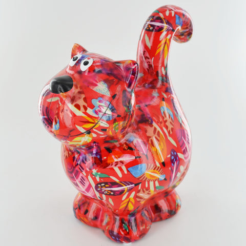 Pomme Pidou Dorothy Cat Animal Money Bank - Red Leaves