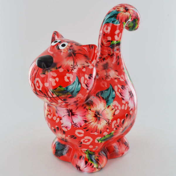 Pomme Pidou Dorothy Cat Animal Money Bank - Red Tropical