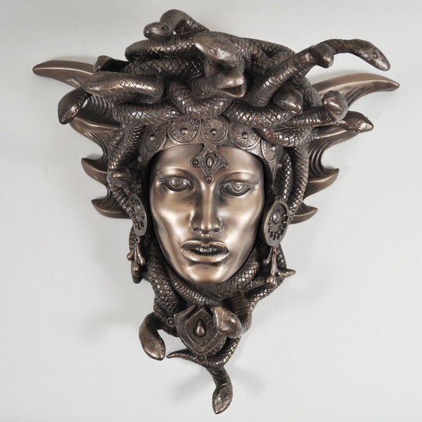 Medusa Guardian, Greek Mythology Cold Cast Bronze Wall Sculpture - Prezents.com