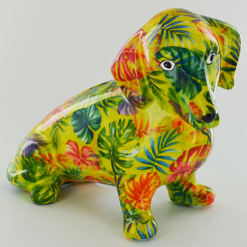 Pomme Pidou Molly Dachshund Animal Money Bank - Green Leaves - Prezents.com