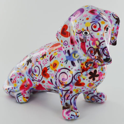 Pomme Pidou Molly Dachshund Animal Money Bank - Light Blue Swirls
