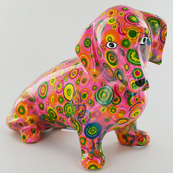 Pomme Pidou Molly Dachshund Animal Money Bank - Pink Circles