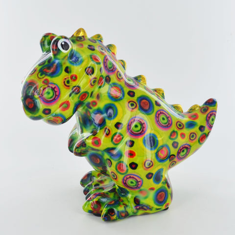 Pomme Pidou Tito the T-REX Dinosaur Animal Money Bank - Green Circles