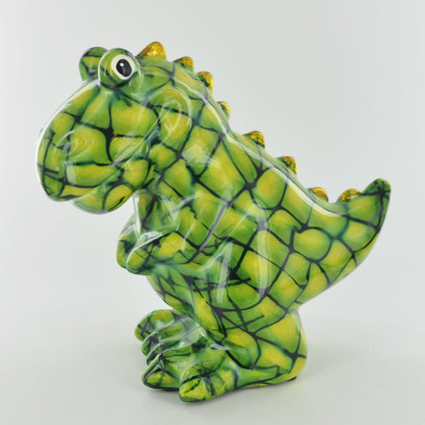 Pomme Pidou Tito the T-REX Dinosaur Animal Money Bank - Blue Circles