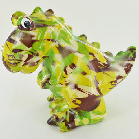 Pomme Pidou Tito the T-REX Dinosaur Animal Money Bank - Green Camo