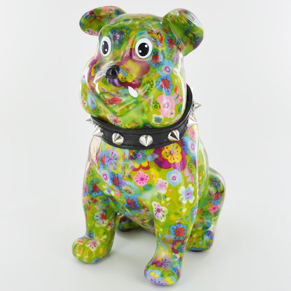 Pomme Pidou Buddy the Bulldog Animal Money Bank - Green Flowers - Prezents.com