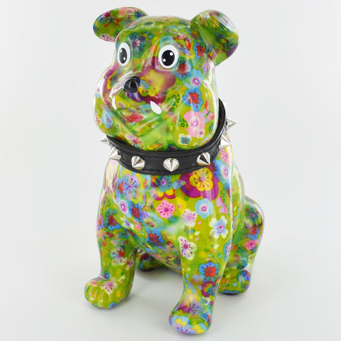Pomme Pidou Buddy the Bulldog Animal Money Bank - Green Flowers