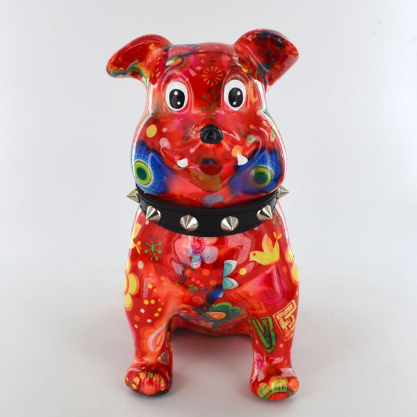 Pomme Pidou Buddy the Bulldog Animal Money Bank - Red Floral - Prezents.com