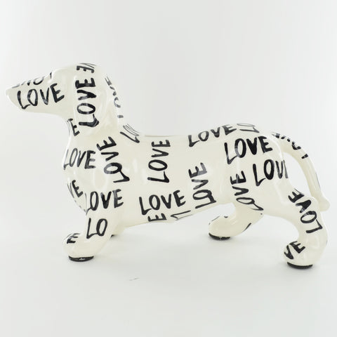 Pomme Pidou Ted the Dachshund Animal Money Bank - Black and White Love - Prezents.com