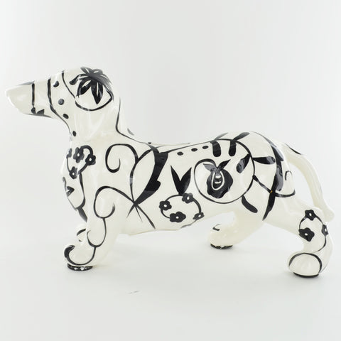 Pomme Pidou Ted the Dachshund Animal Money Bank - Black and White Swirls - Prezents.com