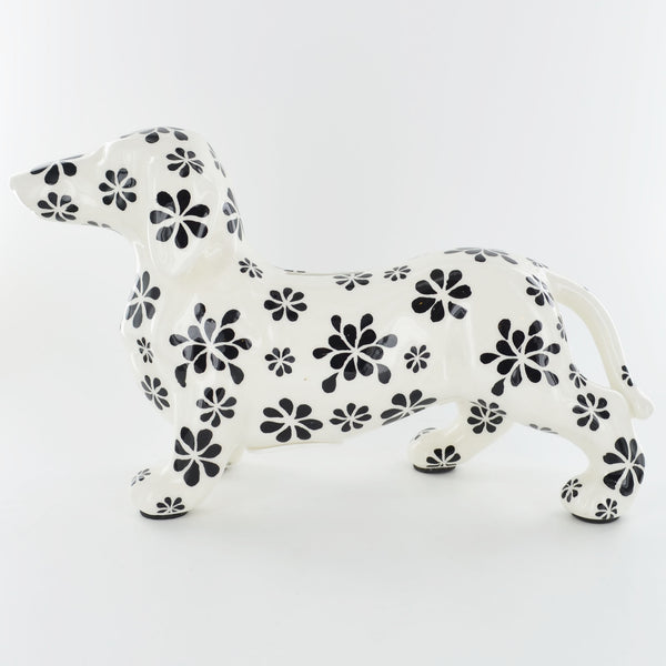 Pomme Pidou Ted the Dachshund Animal Money Bank - Black and White Petals - Prezents.com