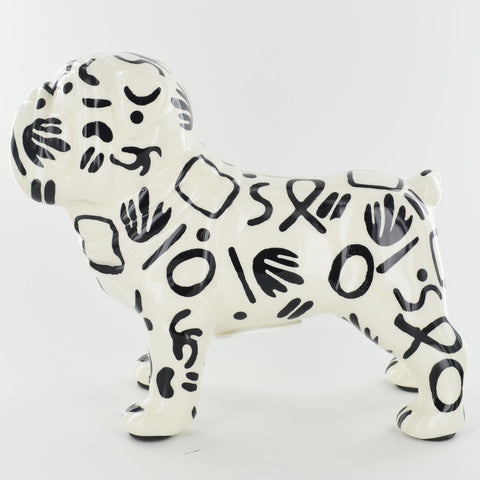 Pomme Pidou Max the Bulldog Animal Money Bank - Black and White Tribal - Prezents.com