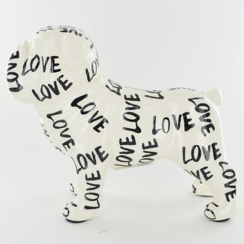 Pomme Pidou Max the Bulldog Animal Money Bank - Black and White Love - Prezents.com
