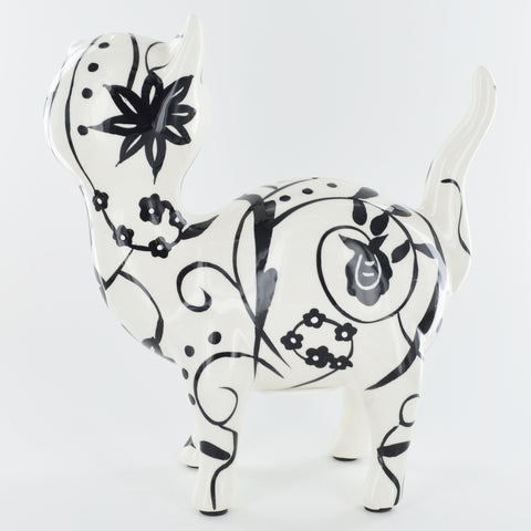 Pomme Pidou Mia the Cat Animal Money Bank - Black and White Swirls