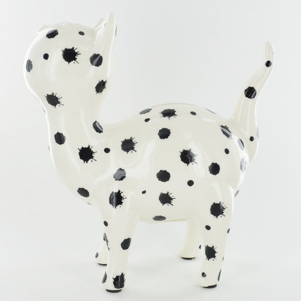 Pomme Pidou Mia the Cat Animal Money Bank - Black and White Dots