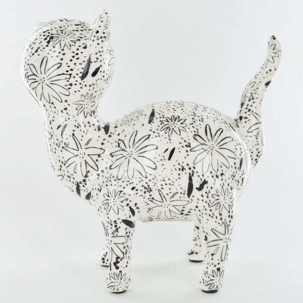 Pomme Pidou Mia the Cat Animal Money Bank - Black and White Flowers
