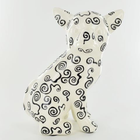 Pomme Pidou Nanou the Chihuahua Animal Money Bank - Black and White Spirals