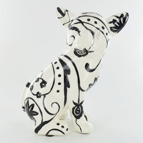 Pomme Pidou Nanou the Chihuahua Animal Money Bank - Black and White Swirls - Prezents.com