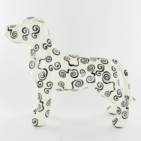 Pomme Pidou Jules the Dog Animal Money Bank - Black and White Spirals - Prezents.com