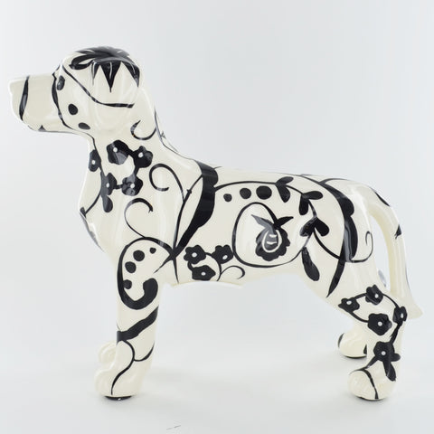 Pomme Pidou Jules the Dog Animal Money Bank - Black and White Swirls - Prezents.com
