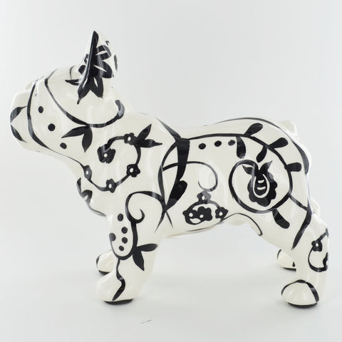 Pomme Pidou Jack the French Bulldog Animal Money Bank - Black and White Swirls - Prezents.com
