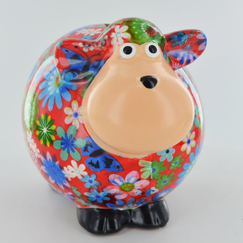 Pomme Pidou Giselle the Sheep Animal Money Bank - Red Flowers