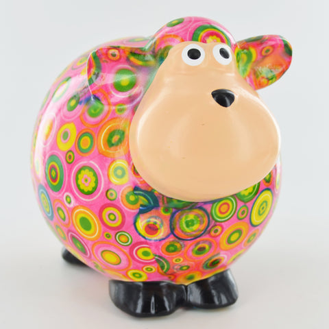 Pomme Pidou Giselle the Sheep Animal Money Bank - Pink Circles