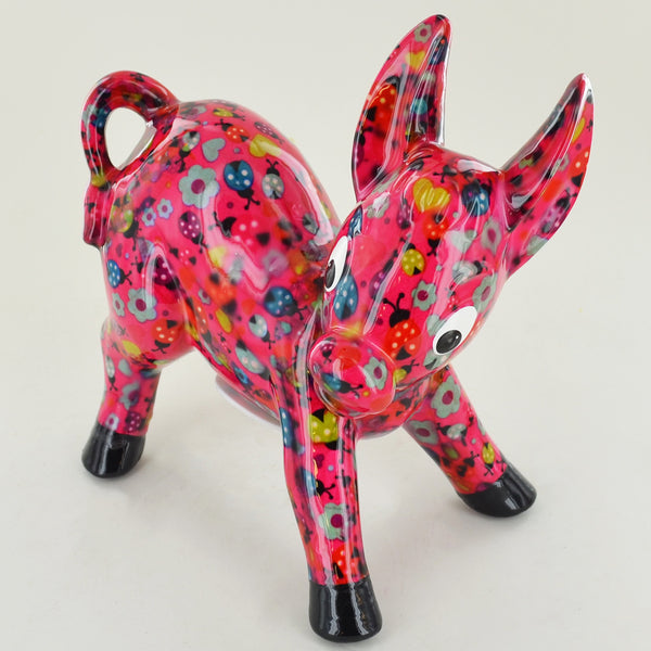 Pomme Pidou Iggy the Donkey Animal Money Bank - Pink Ladybirds - Prezents.com