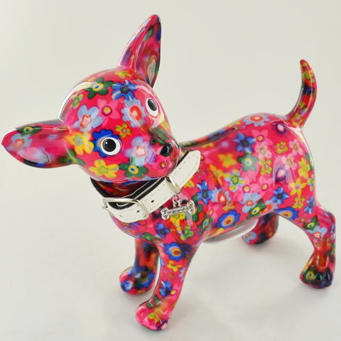 Pomme Pidou Pippa the Chihuahua Animal Money Bank - Pink Flowers - Prezents.com