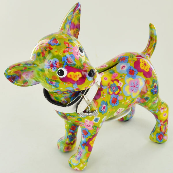 Pomme Pidou Pippa the Chihuahua Animal Money Bank - Green Floral - Prezents.com