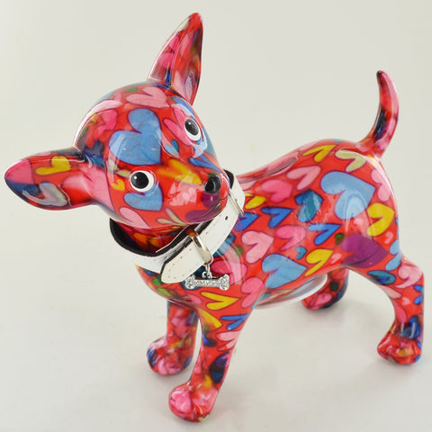 Pomme Pidou Pippa the Chihuahua Animal Money Bank - Red Hearts - Prezents.com