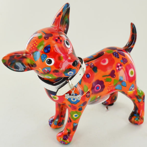 Pomme Pidou Pippa the Chihuahua Animal Money Bank - Orange Toadstool - Prezents.com
