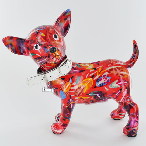 Pomme Pidou Pippa the Chihuahua Animal Money Bank - Red Leaves