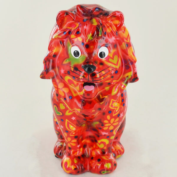 Pomme Pidou Leo the Lion Animal Money Bank - Red - Prezents.com