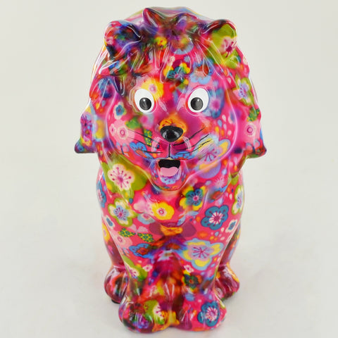 Pomme Pidou Leo the Lion Animal Money Bank - Pink