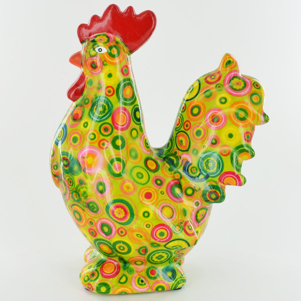 Pomme Pidou Maurice the Rooster Animal Money Bank - Green Circles