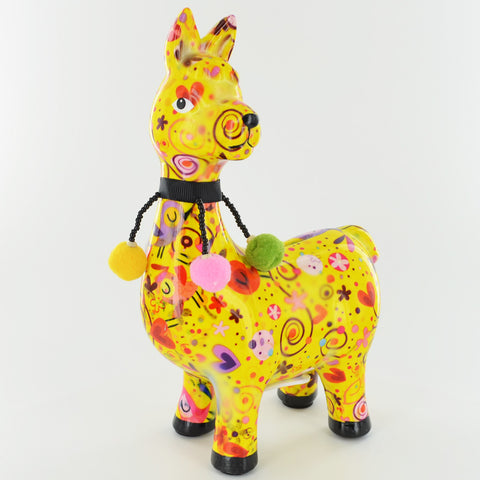 Pomme Pidou Pedro The Llama Animal Money Bank - Yellow Birdies - Prezents.com