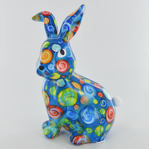 Pomme Pidou Helena Rabbit Animal Money Bank - Blue Circles
