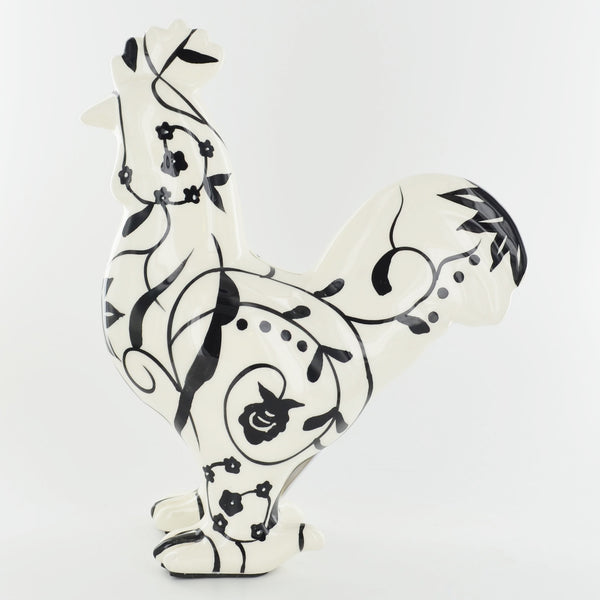 Pomme Pidou Edison the Rooster Animal Euro Money Bank - Black and White Swirls - Prezents.com