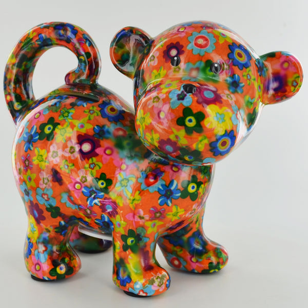 Pomme Pidou Bubbles the Monkey Animal Money Bank - Orange Floral - Prezents.com